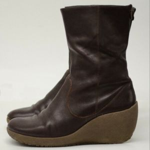Camper Brown Wedge Zip Up Ankle Boot Size 7 8 38
